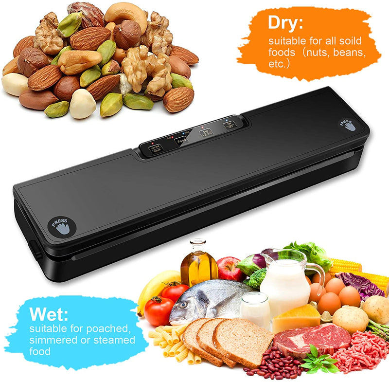 Vacuum Sealer Machine, STYFSCP Automatic Food Saver vacuum sealer with Air Sealing System, Dry & Moist Modes, Led Indicator Light, Food Vacuum Sealer for Food Preservation with 15 Pack Vacuum Sealer Bags