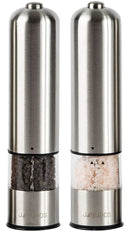 Electric Salt and Pepper Grinder Set - Automatic, Refillable, Battery Operated Stainless Steel Spice Mills with Light - One Handed Push Button Peppercorn Grinders and Sea Salt Mills by JAGURDS