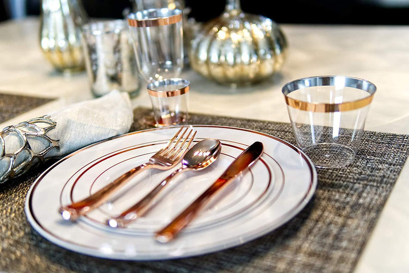 Modern Dining | 300 Rose Gold Plastic Silverware Cutlery Heavyweight Premium Quality Disposable Flatware Set Perfect Utensils for Weddings & Dinner Parties | 100 Forks, 100 Spoons, 100 Knives