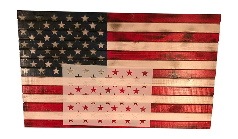 50 Star Stencil Template 10.5 X 15 (actual size 10.5 X 14.82) for making Wood American Flags and Wall Stencils. Made from Thick Reusable 14mil Mylar Plastic by Stencil Soldier.