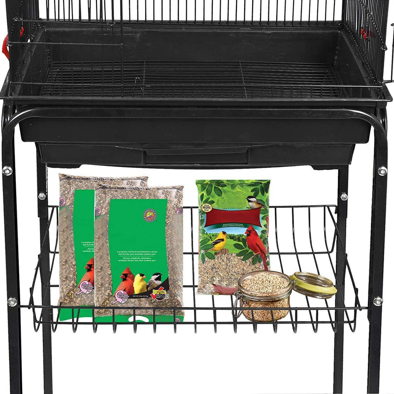 SUPER DEAL 59.3''/53'' Rolling Bird Cage Large Wrought Iron Cage for Cockatiel Sun Conure Parakeet Finch Budgie Lovebird Canary Medium Pet House with Rolling Stand & Storage Shelf