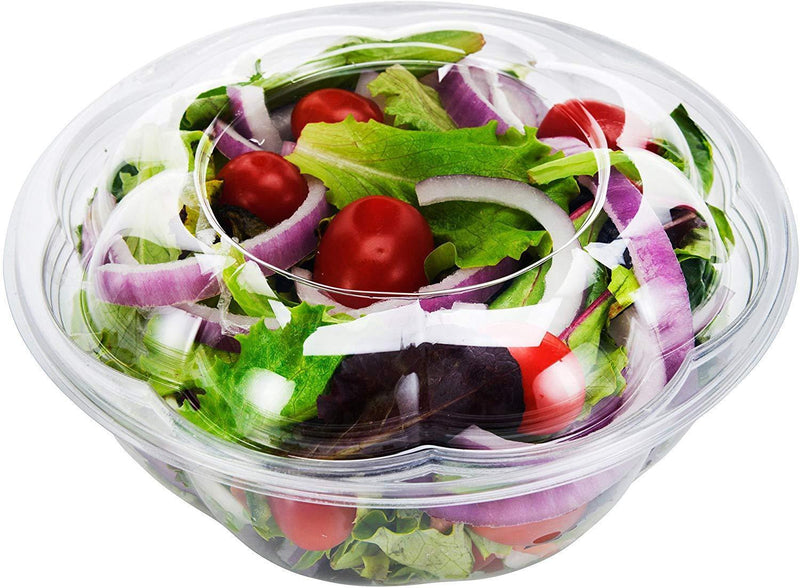 DOBI [50 Pack - 32 oz.] Salad to-Go Containers - Clear Plastic Disposable Salad Bowls with Airtight Lids, Standard Size