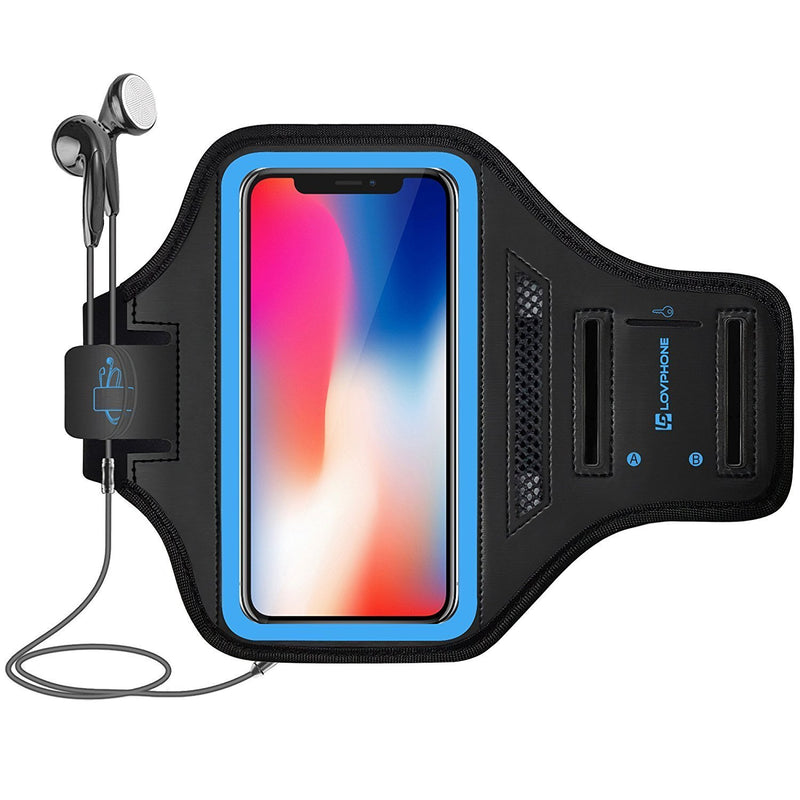 LOVPHONE iPhone X/XS Armband Sport Running Exercise Gym Sportband Case for iPhone X/iPhone Xs,Fingerprint Sensor Access Supported, with Key Holder & Card Slot,Water Resistant and Sweat-Proof(Blue)