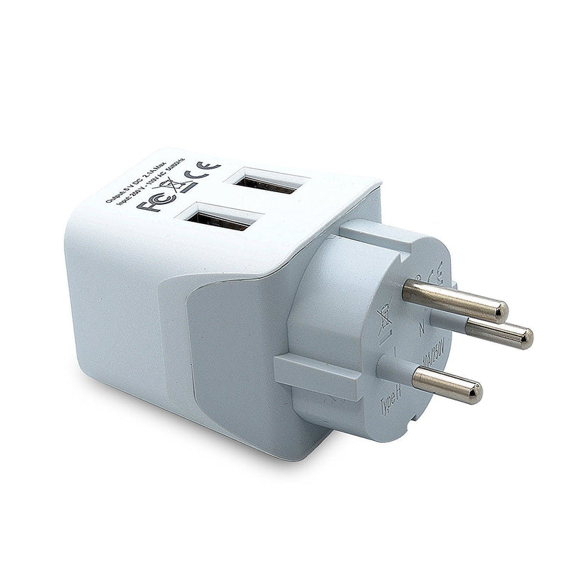 Ceptics CTU-16 USA to Australia, New Zealand, China Travel Adapter Plug with Dual USB - Type I - Dual Inputs - Ultra Compact