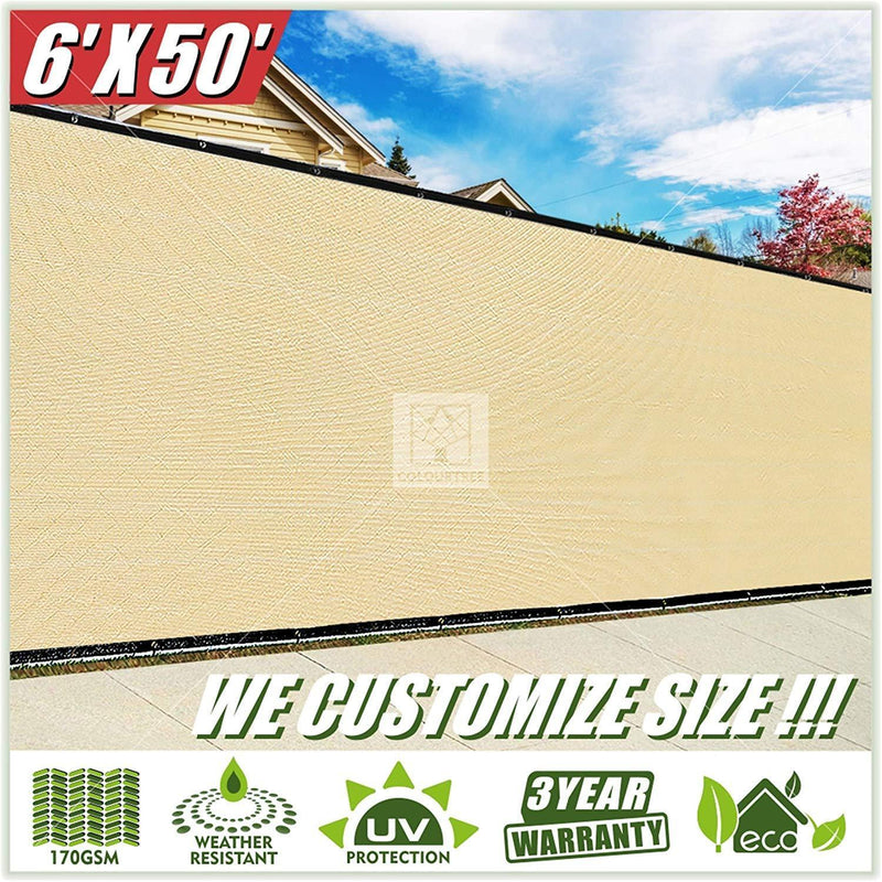 ColourTree 2nd Generation 6' x 50' Beige Fence Privacy Screen Windscreen, Commercial Grade 170 GSM Heavy Duty, We Make Custom Size