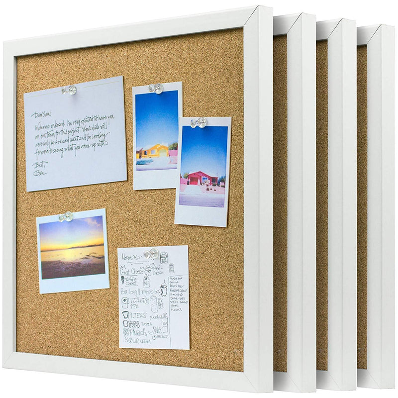 OrgaNice Cork Board/Bulletin Board - 4X Beautifully Framed 12 x 12-Inch Tiles - Reinforced Frame - Zero Flaking - Start Your Dream Project - Mounting Hardware Included - Bonus 10x Push Pins