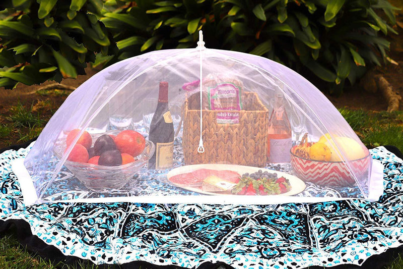 "(Set of 2) Zakara 100% Organza Mesh Net Extra Large (49"" x 27"") Food Cover Tents for Picnics and BBQs to Keep Insects, Bugs, and Flies Away 