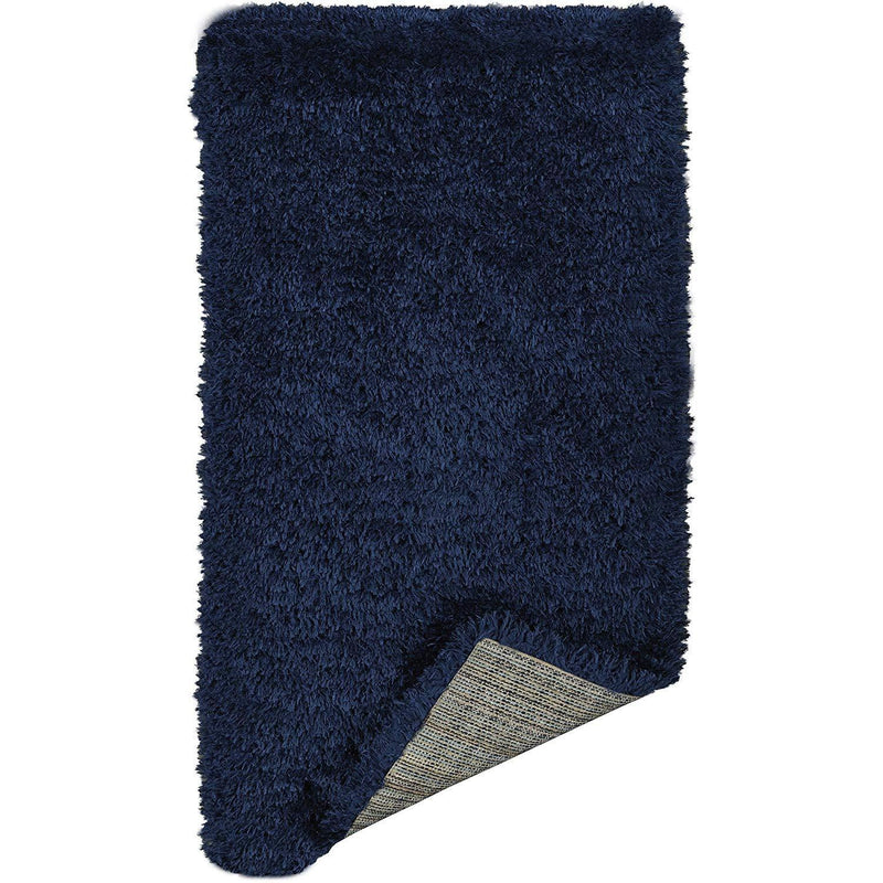 Ottomanson Flokati Collection Faux Sheepskin Shag Runner Rug, 2'X5', Navy