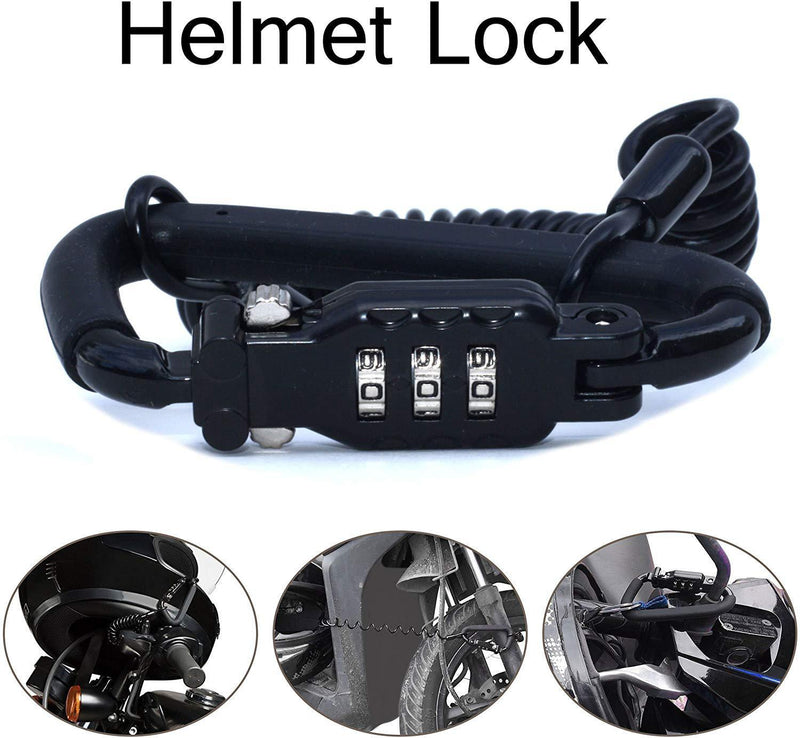 Auto Parts Prodigy Motorcycle Helmet Lock & Cable - Rubberized Sleek Black Tough Combination PIN Locking Carabiner Device Secures Your Motorbike, Bicycle or Scooter Crash Hat (and Jacket) to Your Bike