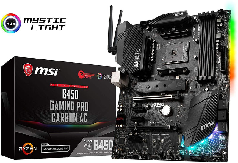 MSI Performance Gaming AMD Ryzen 1st and 2nd Gen AM4 M.2 USB 3 DDR4 HDMI Display Port WiFi Crossfire ATX Motherboard (B450 Gaming PRO Carbon AC)
