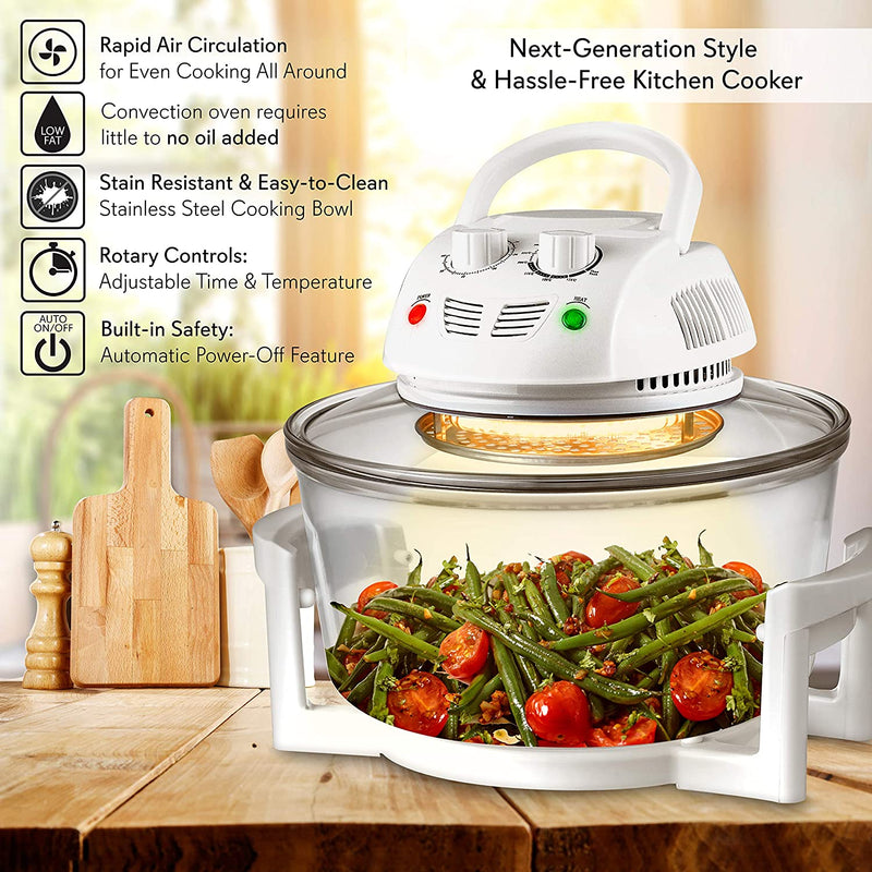 STYFSCP NutriChef Air Fryer, Infrared Convection Oven, Halogen Oven Countertop, Healthy Cooking, Stainless Steel, 13 Quart 1200W, Prepare Quick Healthy Meals, Great for French Fries & Chips, White (PKAIRFR48)