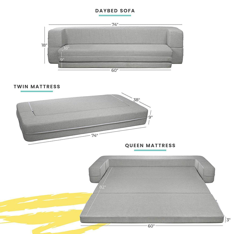 Milliard Daybed Sofa Couch Queen to Twin Folding Mattress 3-in-1