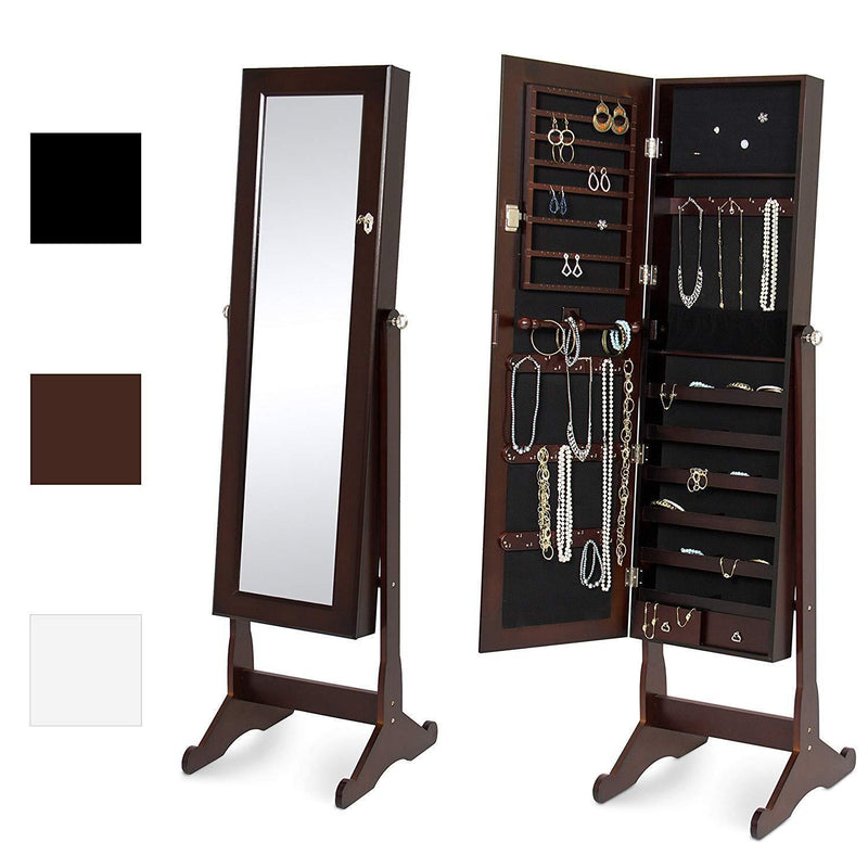 Best Choice Products Mirrored Jewelry Cabinet Armoire w/ Stand Rings, Necklaces, Bracelets - Black