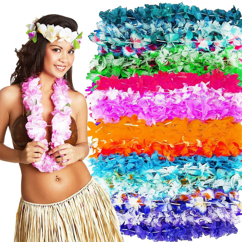 Hawaiian Leis Luau Party Supplies - Bulk 50 Pack Flower Necklaces for Tropical Party Favors Decorations - Colorful Variety of Simulated Silk Floral Lei Beach Theme Parties Kit