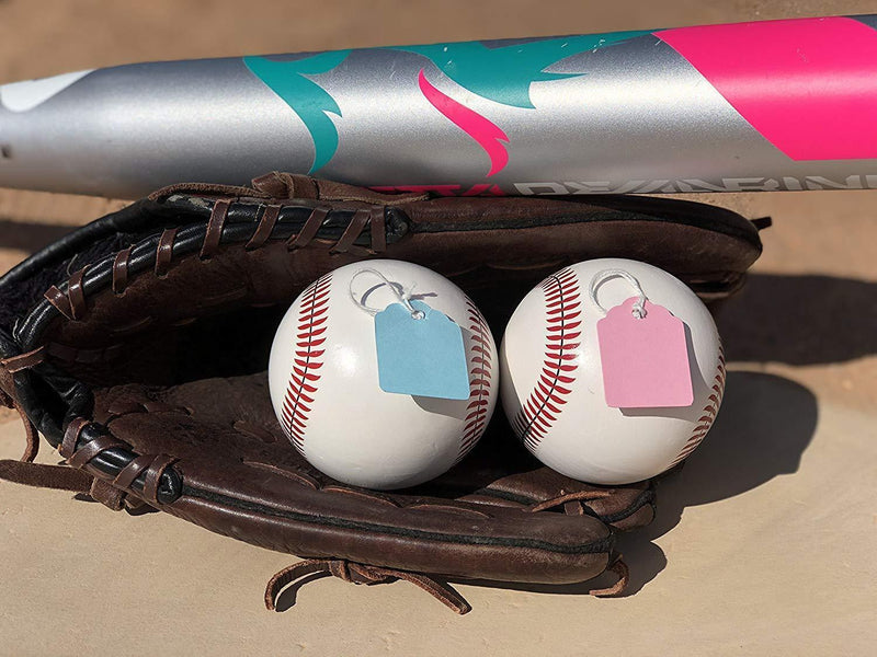 Gender Reveal Baseballs | Set of Premium Exploding Vibrant Pink and Blue Chalk | Extra-Powder Filled Baseballs | 2 Pack- 1 Pink 1 Blue for Gender Reveal Party!