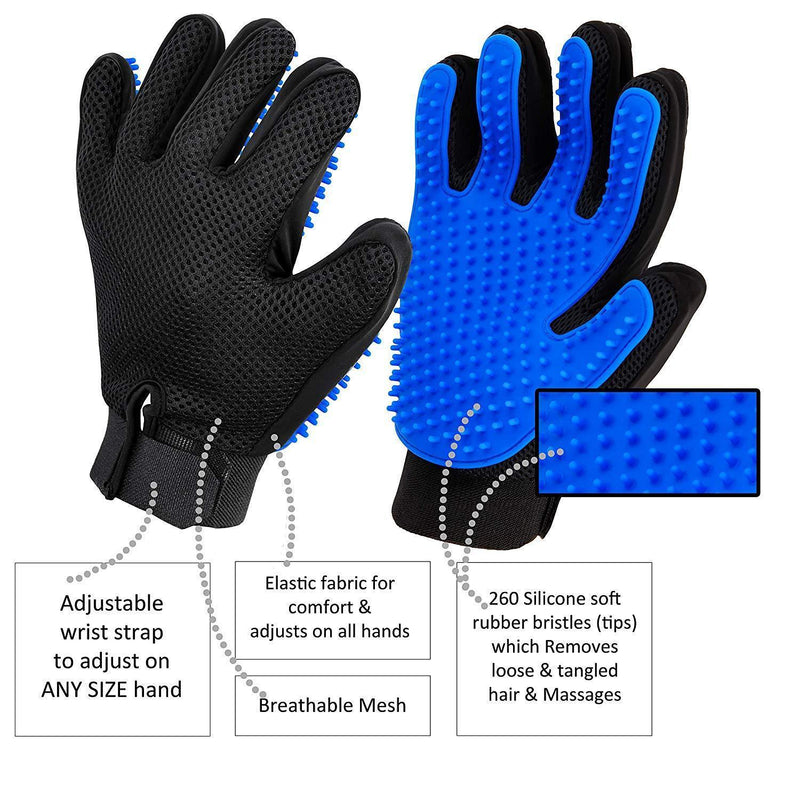 Pet Grooming Glove, Gentle De-Shedding, Hair Remover, and Massage Brush for Dog, Cat, Horses - Long & Short Fur - 1 Pair - Your Pet Will Love It