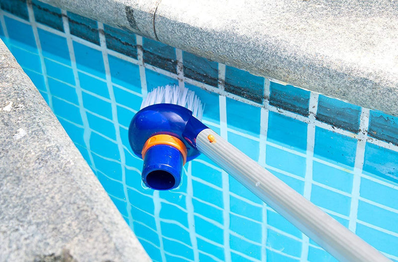Aquatix Pro Pool Step & Corner Vacuum Brush Best for Above Ground & Inground Swimming Pools, Spas & Hot Tubs, Fine Bristles, 1-1/2 Hose & 1-1/4 Pole Connection, Tackles Hard to Reach Places
