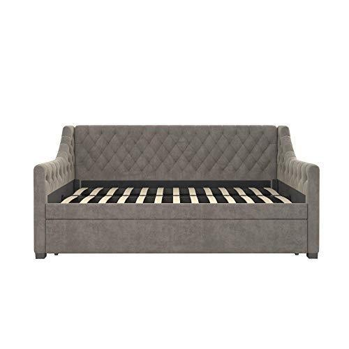 Little Seeds Ambrosia Diamond Tufted Upholstered Design Daybed and Trundle Set, Twin Size Frame, Light Grey