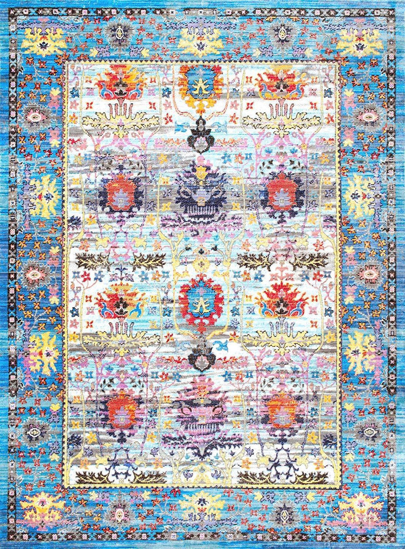 nuLOOM Blue Persian Floral Romona Rug, 2 Feet 6 Inches by 7 Feet 10 Inches