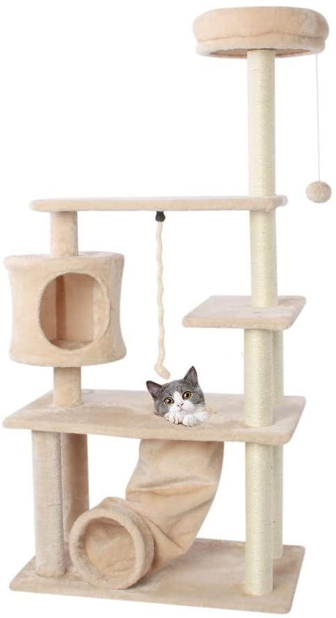 CUPETS Cat Tree Cat Climber Kitten Activity Tower Condo Multi Level Pet Play House with Scratching Post and Slide Activity Tree Pet Products for Cats 55 Inches High …