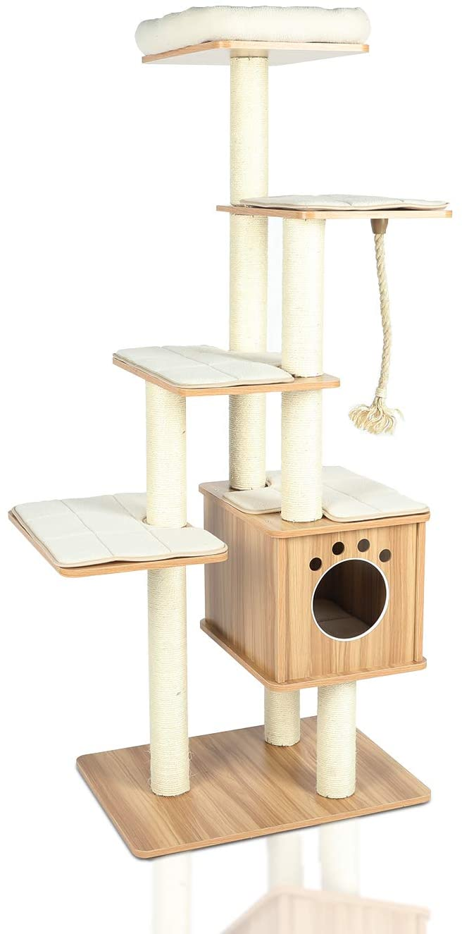 CUPETS Cat Tree, Wooden Modern Cat Tower, 5 Levels for Cat's Activity, Cat Furniture with Removable and Washable Mats for Kittens, Large Cats and Pets