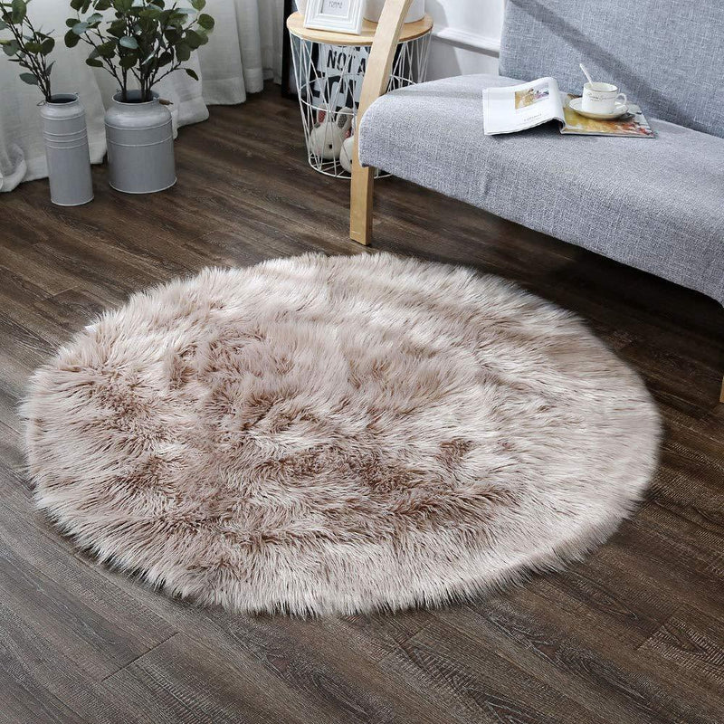 OJIA Deluxe Soft Fuzzy Fur Rugs Faux Sheepskin Shaggy Area Rugs Fluffy Modern Kids Carpet for Living Room Bedroom Sofa Bedside Decor(2 x 3ft, Grey)