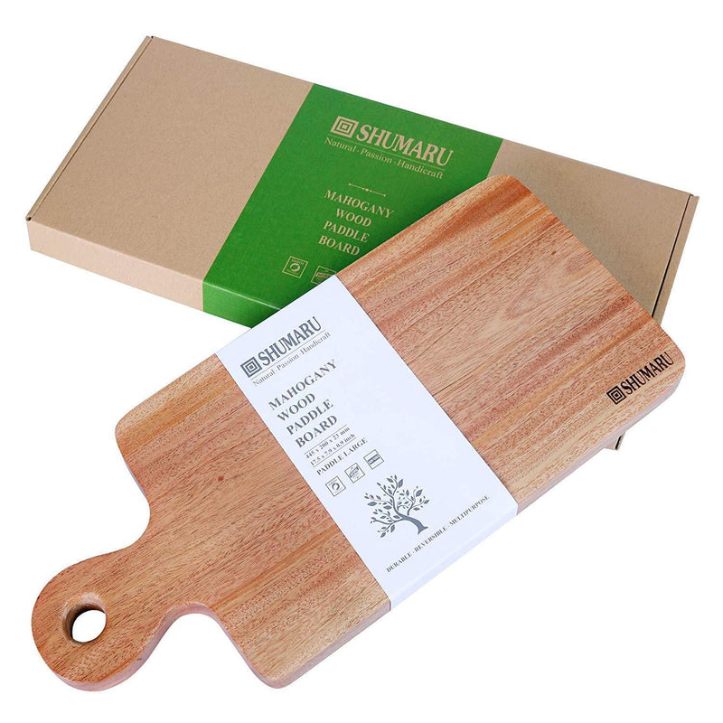 "Super-Durable Mahogany Wood Cutting Board with Juice Drip Groove and Handle | 15.7 x 11 x 1.1"" Thick Heavy Duty One-Piece Wooden Chopping Butcher Block Countertop - 5.5 lb"