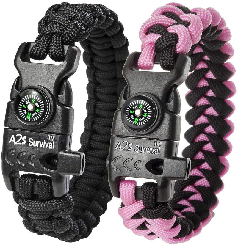 A2S Protection Paracord Bracelet K2-Peak – Survival Gear Kit with Embedded Compass, Fire Starter, Emergency Knife & Whistle EDC Hiking Gear- Camping Gear