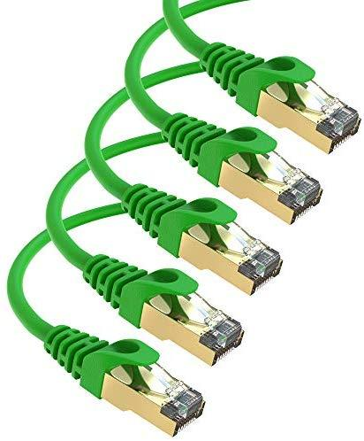 Maximm Cat7 Ethernet Cable, 15 Feet, Green, 5-Pack - Pure Copper - RJ45 Gold-Plated Snagless Connectors 600 MHz, 10 Gbps. for Fast Network & Computer Networking + Cable Clips and Ties