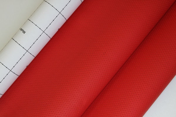 Adhesive Faux leather Vinyl Fabric Punched Hole Red