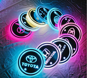 7 colors led changing car logo cup coaster