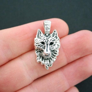 4 Wolf Charms Silver Tone - New Wolves - unique & trendy stuff