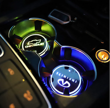 Load image into Gallery viewer, 7 colors led changing car logo cup coaster