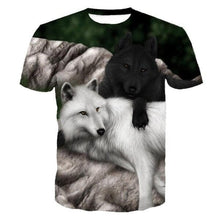Load image into Gallery viewer, Black and White Wolf T-shirt