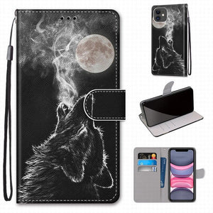 Wolf Flip Phone Cover - For Samsung Galaxy S9 Plus + S8 S7 S6 S5 Girl/Boy Phone Bags