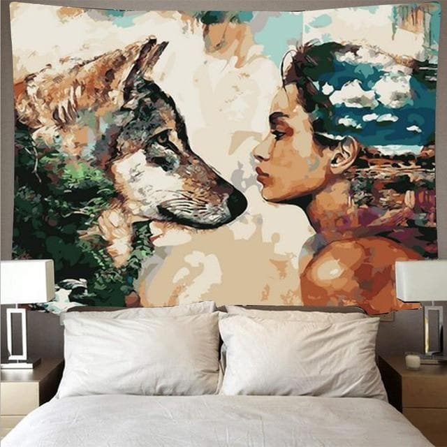 Animal wolf and man tapestry cheap hippie wall hanging bohemian wall tapestry mandala wall oil painting style art deco