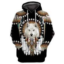 Load image into Gallery viewer, Native Indian Wolf 3D Printed Hoodies For Men