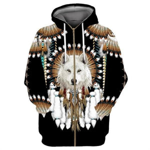 Native Indian Wolf 3D Printed Hoodies For Men