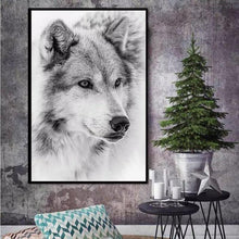 Load image into Gallery viewer, Black And White Cool Wolf Animal Canvas - Beautiful wolf Art