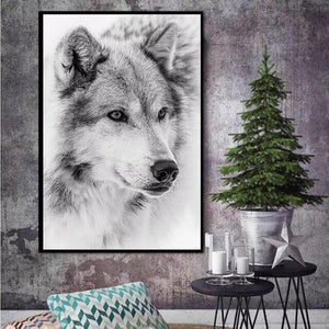 Black And White Cool Wolf Animal Canvas - Beautiful wolf Art
