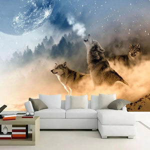 Custom 3D Wallpaper Wolf - Background Wall Paintings - Beautiful Style