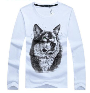 Wolf Shirt Long Sleeved For Man - Size S-5XL - Autumn/Winter - Cotton