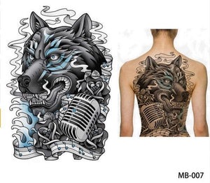 Large Wolf, tiger, Dragon waterproof temporary flash tattoos cool men women
