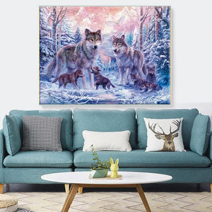 Wolf Art - Beautiful Mosaic Painting For Home Decoration - Cotton