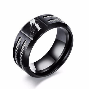 Men's Stainless Steel Cable Ring - Wolf Theme - Beautiful Gift!