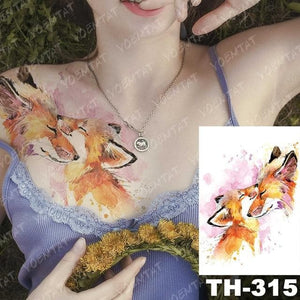 Temporary Tattoo Sticker - Wolf, Unicorn And Othe Animals