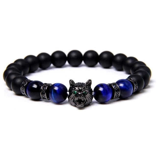 Wolf Charm Bracelets Natural Black - Elastic - For Woman and Men