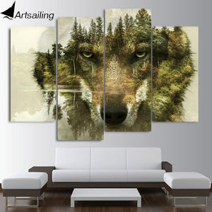 Wolf Wall Art Picture 4 Pieces -Wolf Canva Painting - for living room on the wall