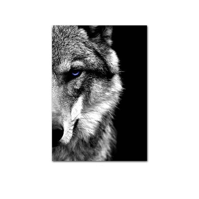 Wall Art Picture - Wolf Face - Painting Scandinavian Modern Home Room Decoration
