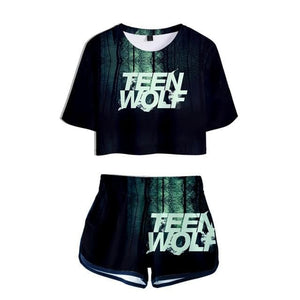 Teen Wolf Science Fiction Style - For Woman - Two Piece Set Summer Short Sleeve Crop Top - Wide choice of variants